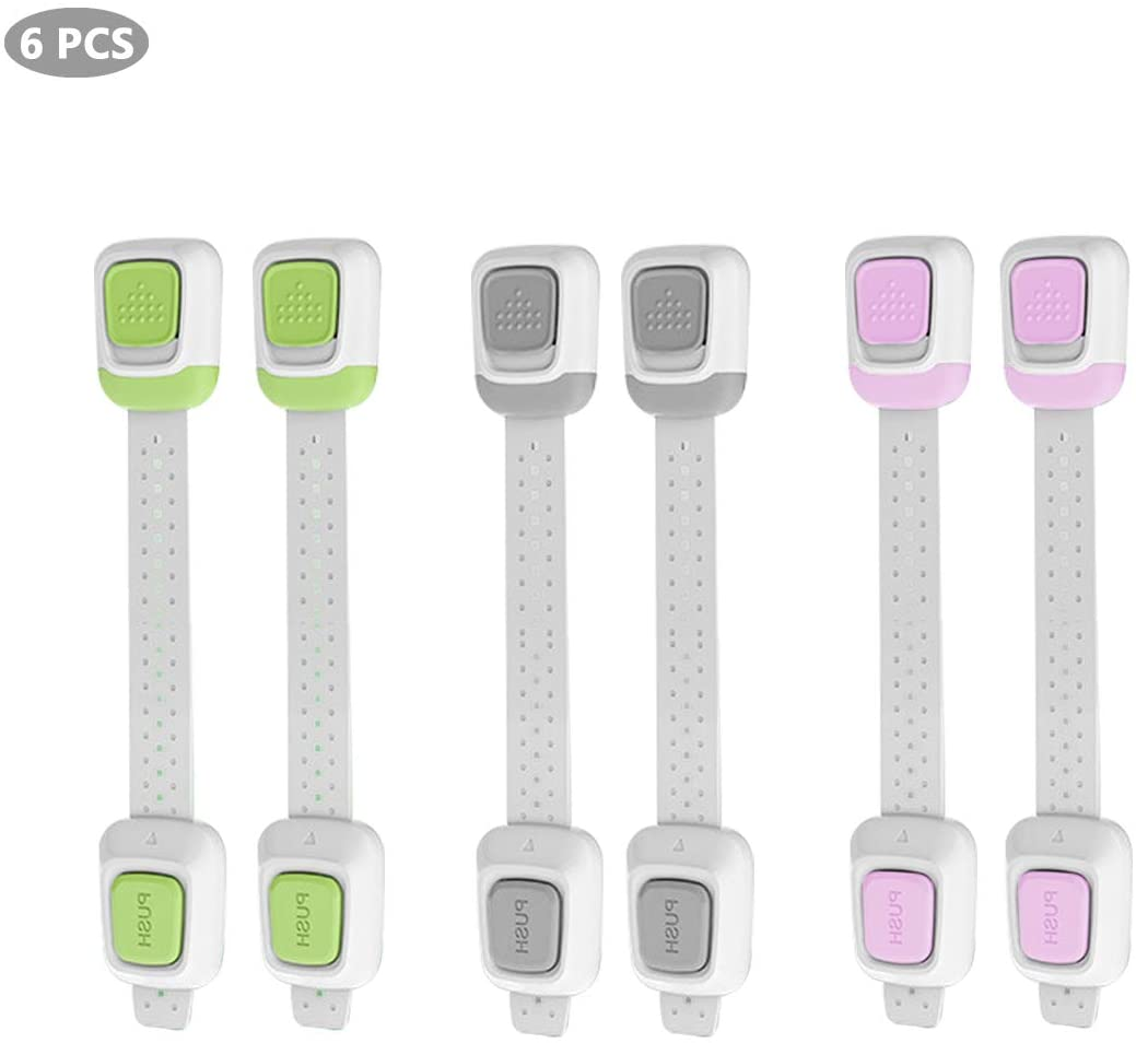 Baby Locks for Safety (6-PCS) | Double Bottoned Safeguard Locks for Cabinets, Refrigerator, Kitchen Wares etc to Keep Babies Away From Potential Risk.