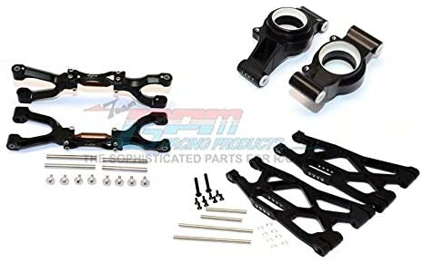GPM Traxxas X Maxx 4X4 Upgrade Parts Aluminum Rear Upper + Lower Arms + Knuckle Arms Set - 40Pc Set Black
