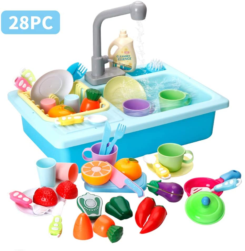 LBLA Kitchen Sink Toys, 28PCS Pretend Play Wash Up Kitchen Toys ,Dishwasher and Cutting Toys , Automatic Water Cycle System Play House Pretend Role Play Toys for Boys Girls