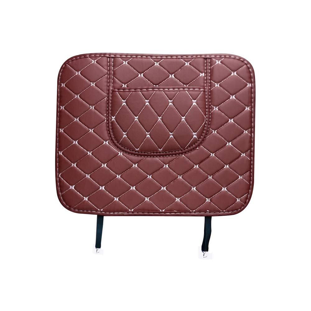 Kick Mats Car Seat Protector Leather Mat Backseat for Kids Kick Guard Mat Waterproof Anti-Dirt, Mud, Scratches Seat Back Covers Coffee 1pc/Set