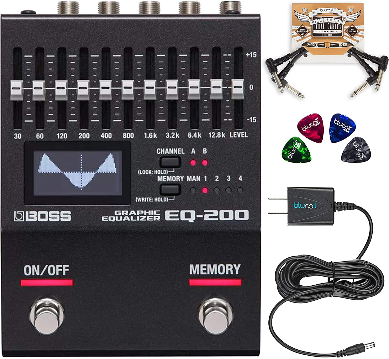 BOSS EQ-200 Graphic Equalizer Pedal for Guitars and Bass Bundle with Blucoil Slim 9V Power Supply AC Adapter, 2-Pack of Pedal Patch Cables, and 4-Pack of Celluloid Guitar Picks