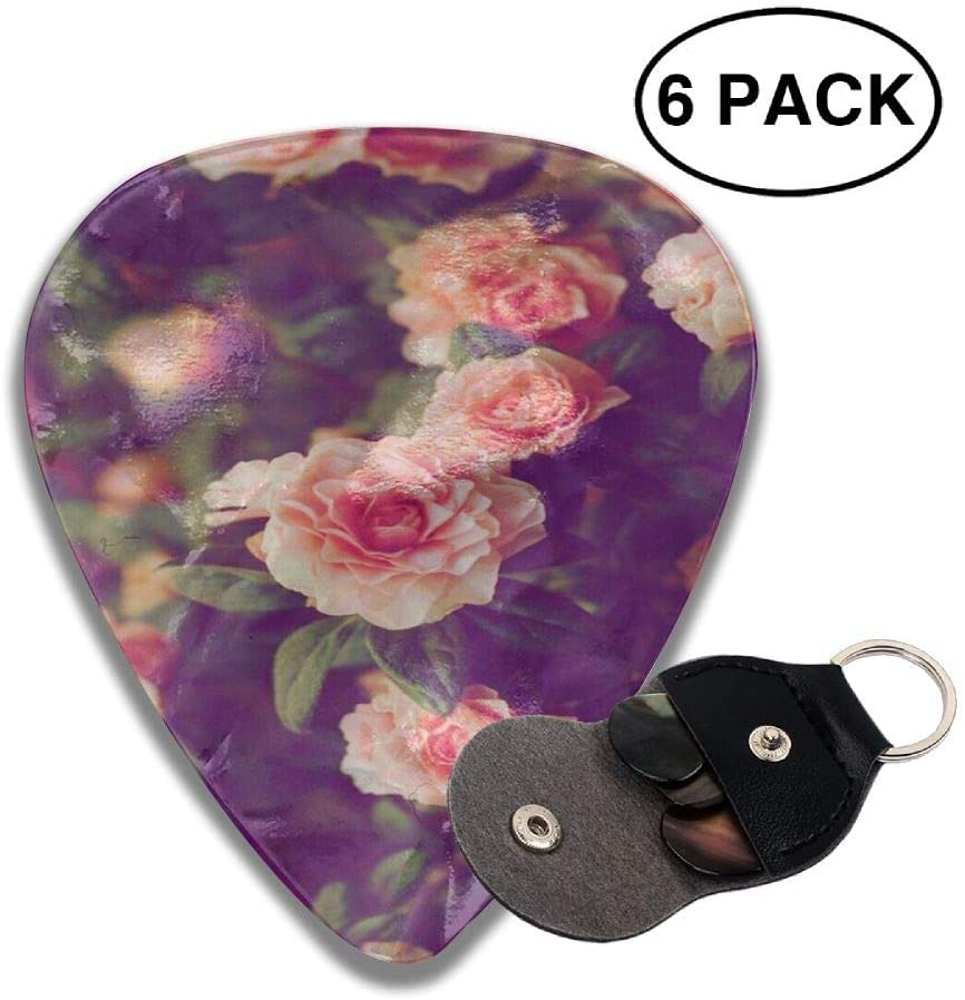 TO-JP 351 Shape Classic Celluloid Rose Flower Guitar Picks 6 Pack