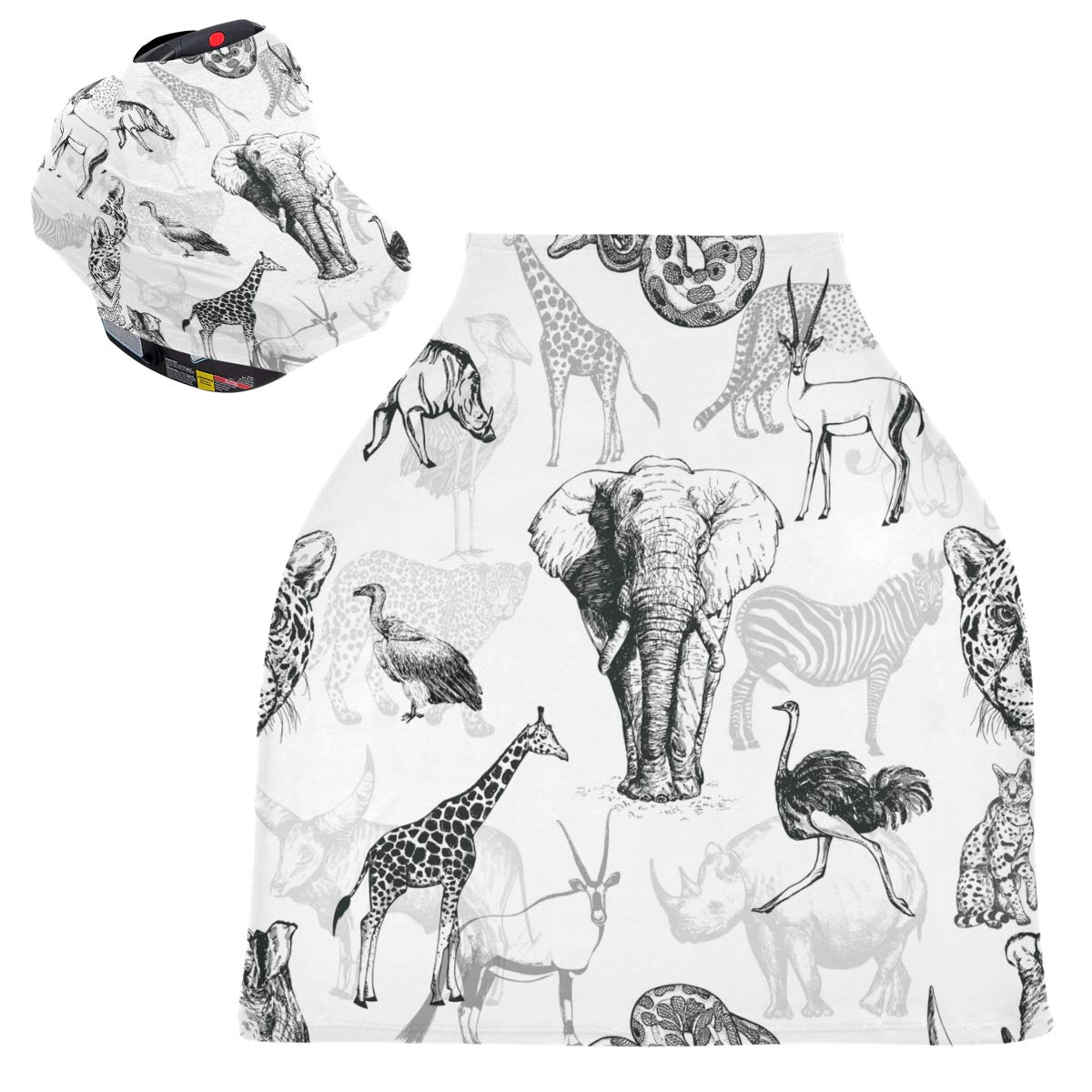 Stretchy Baby Car Seat Canopy - African Asian Animals Infant Stroller Cover Multi Use Carseat Scarf Nursing Cover for Shopping Cart