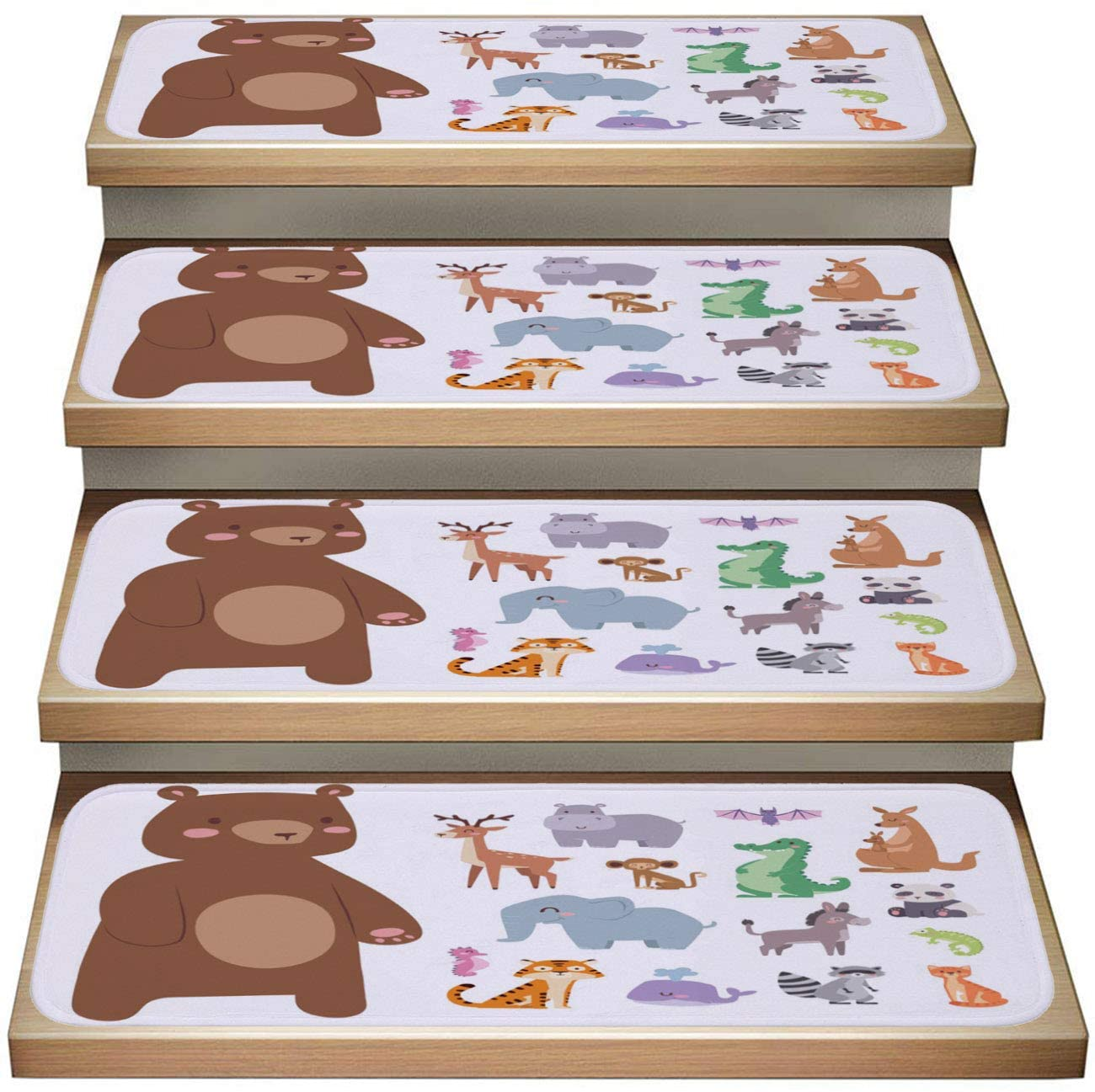 Cartoon 13-Pack Non-Slip Stair Mat,Cute Zoo Cartoon Animals Funny Wildlife Learn Cute Language and Tropical Nature Safari Mammal Illustration,Soft Stair Mat Rotection Kids, Elders, and Dogs Safety