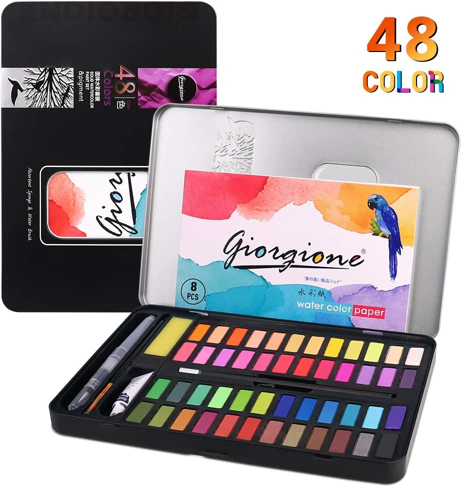 Kids Watercolor Paint Set, Art Supplies Painting Gifts for Adult, Teenager, Artists, 48 Reusable Watercolor Paint Kits with Watercolor Paint Brush Pens, Palette, and Durable Storage Case,Black