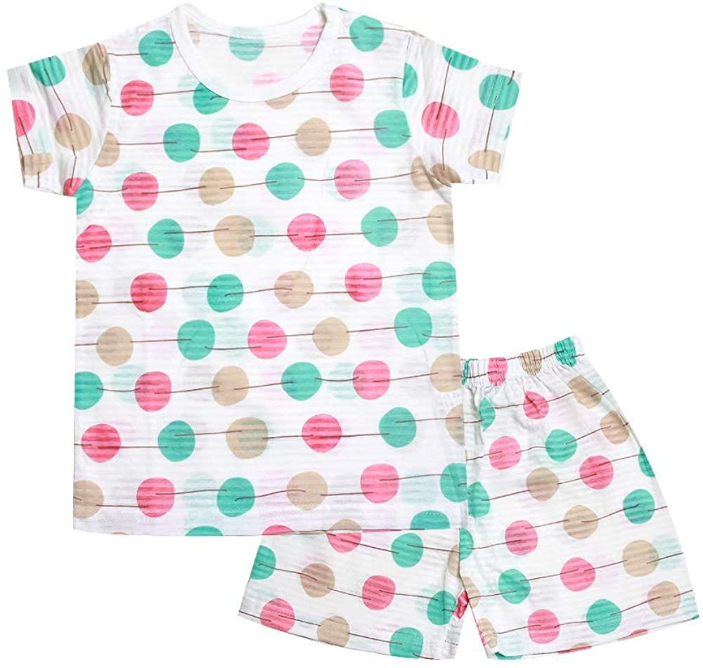 OllCHAENGi Toddler Kids Boys Girls Cotton Pajama Set Short Sleeve 2T-13Y Pepperoni