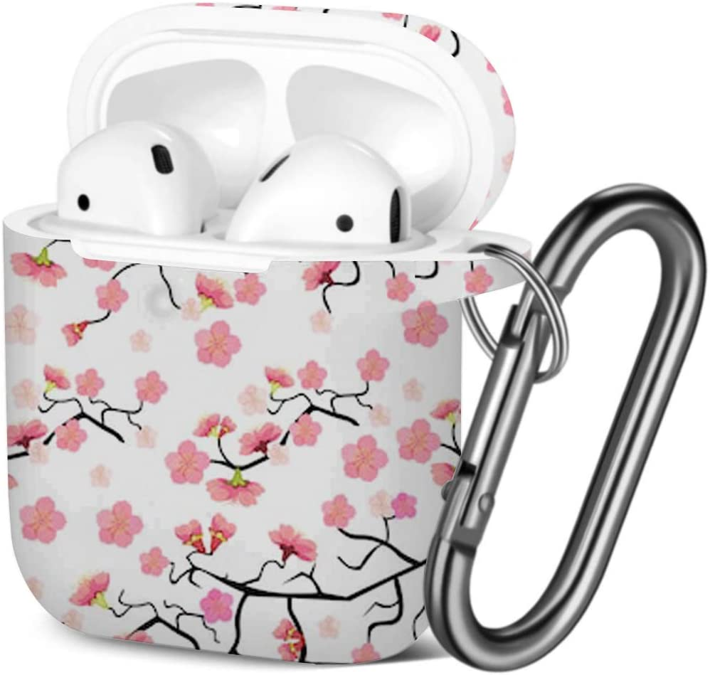 [ Compatible with AirPods 2 and 1 ] Shockproof Soft TPU Gel Case Cover with Keychain Carabiner for Apple AirPods (Sakura Cherry Blossom)