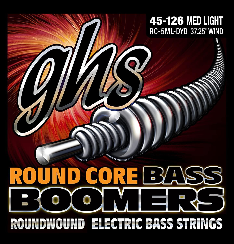GHS Strings GHS Round Core Bass Boomers, 5-String Set, Medium Light Gauge (37.25 winding) (RC-5ML-DYB)