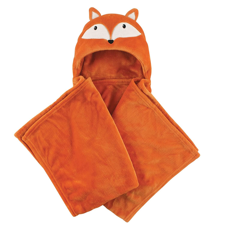 Hudson Baby Unisex Baby and Toddler Hooded Animal Face Plush Blanket, Orange Fox, One Size