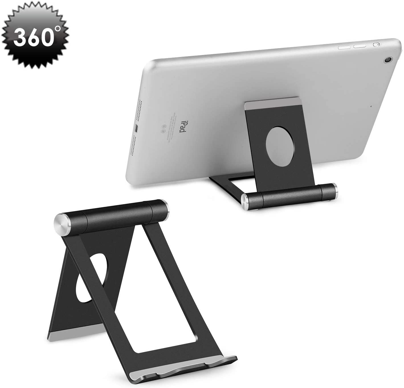 Cell Phone Stand, YOSHINE Portable Phone Stand: Full 360° Adjustable Cell Phone Holder Cradle Dock for Phone Xs XR X 8 7 6 6S Plus, Universal Aluminium Stand for Cellphones & Tablets (4-10.1