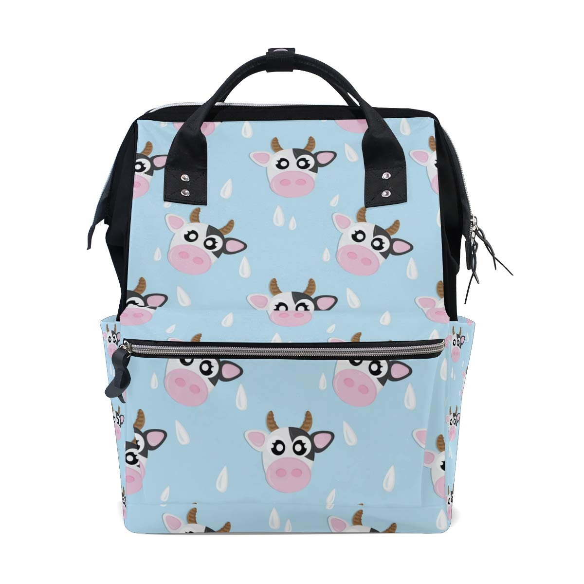 My Little Nest Large Capacity Baby Diaper Bag Cow Pattern Durable Multi Function Travel Backpack for Mom Girls
