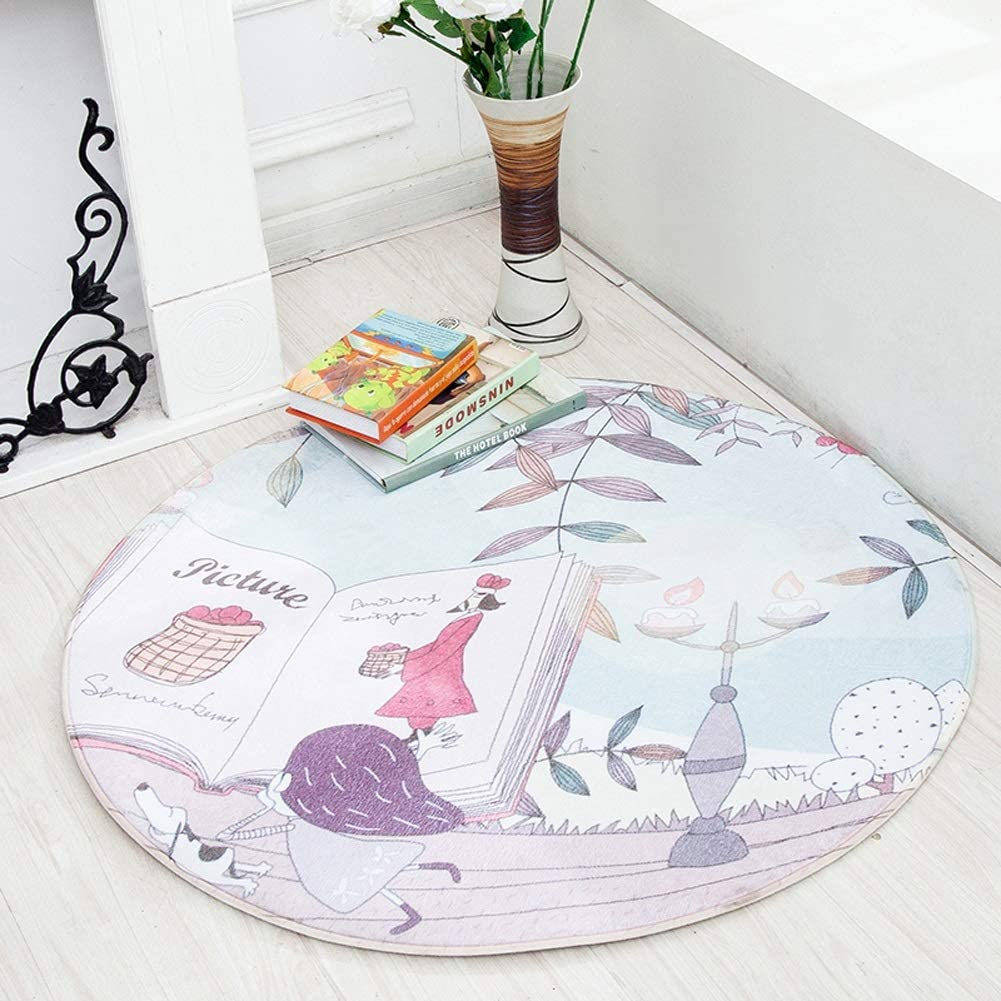 QFLY-RUGS Nursery Round Rugs Cute Animal Children Carpet Kid Circle Mat Nursery Dector Multi Style (Color : F, Size : 33(100cm))