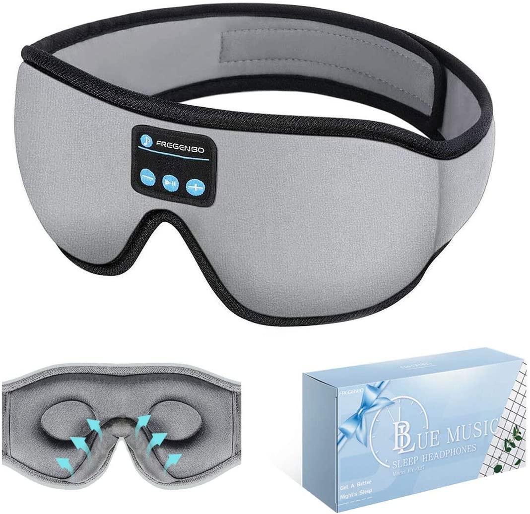 Sleep Headphones Bluetooth Eye Mask, 20-28 Adjustable FREGENBO Music 3D Sleep Mask 2020 Upgraded, Wireless Sleeping Headphones for Side Sleepers, HandsFree for Meditation Insomnia Airplane (Grey)