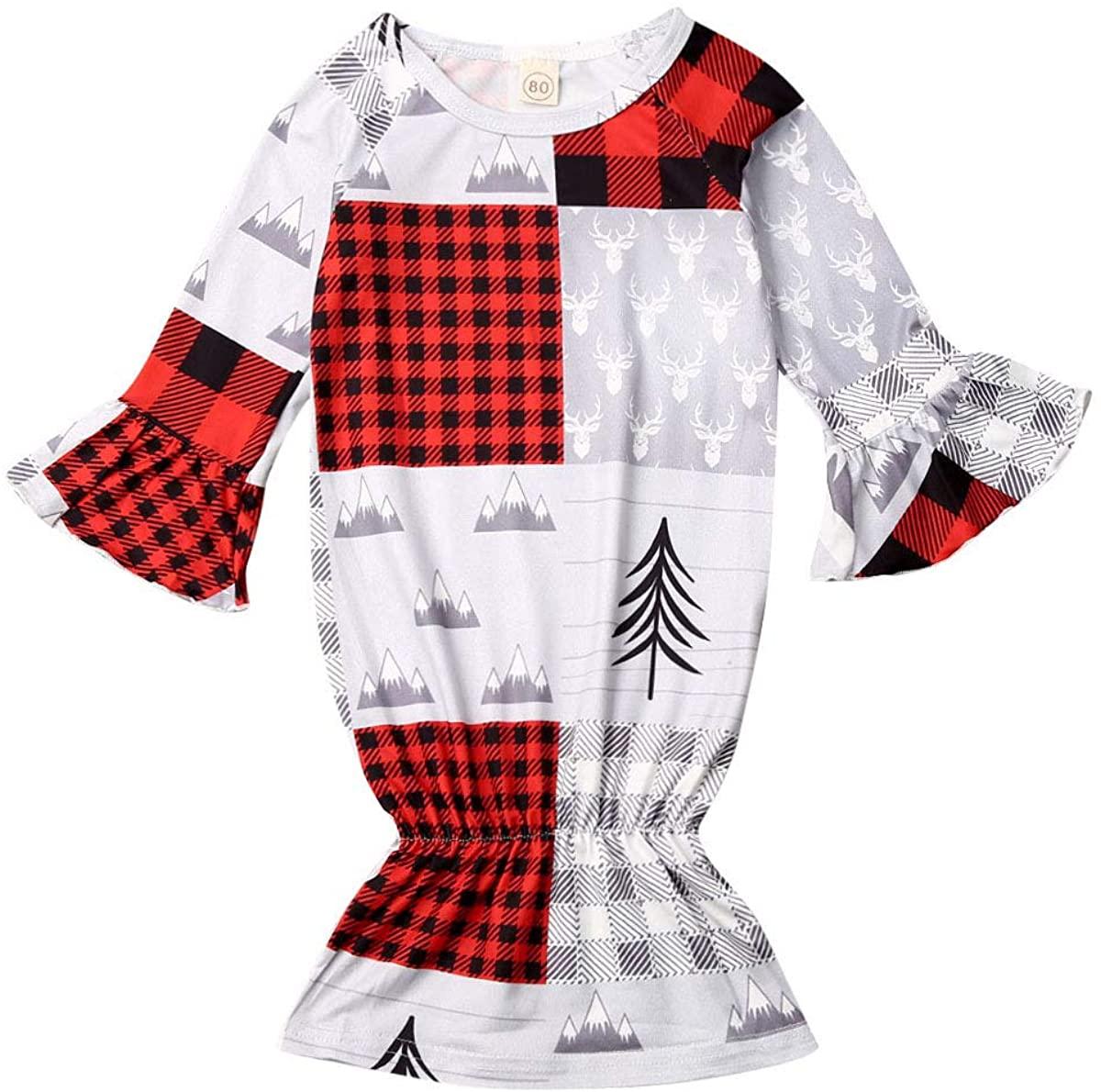 Kosusanill Newborn Baby Girl Boy Nightgown My First Christmas Sleep Bag Cotton Sleeper Outfit