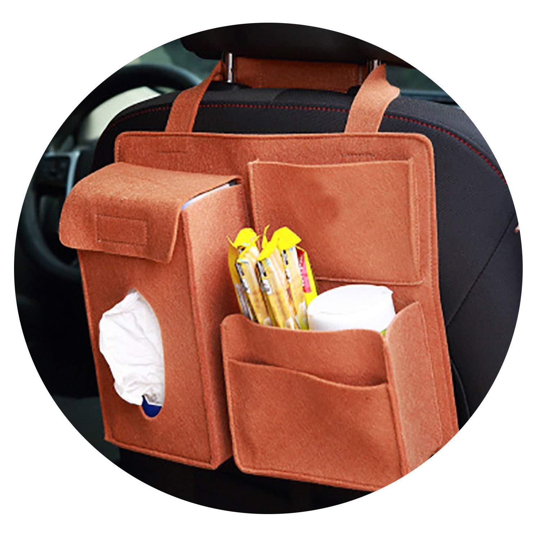 Car Storage Bag Universal Seat Back Organizer Bags Felt Backseat Holder Multi-Pockets Container,Khaki