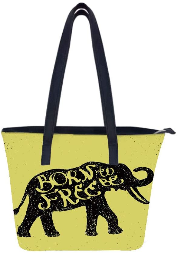 Elephant Sketchy Born Women Leather Laptop Tote Office Shoulder Handbag Computer Briefcase