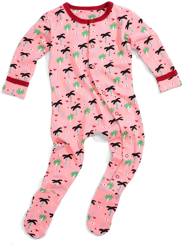 Wild Sundays Baby Toddler Pink Palm Eye Organic Cotton Long Sleeve Pajamas Footsies Snap Buttons (3-24 Months)
