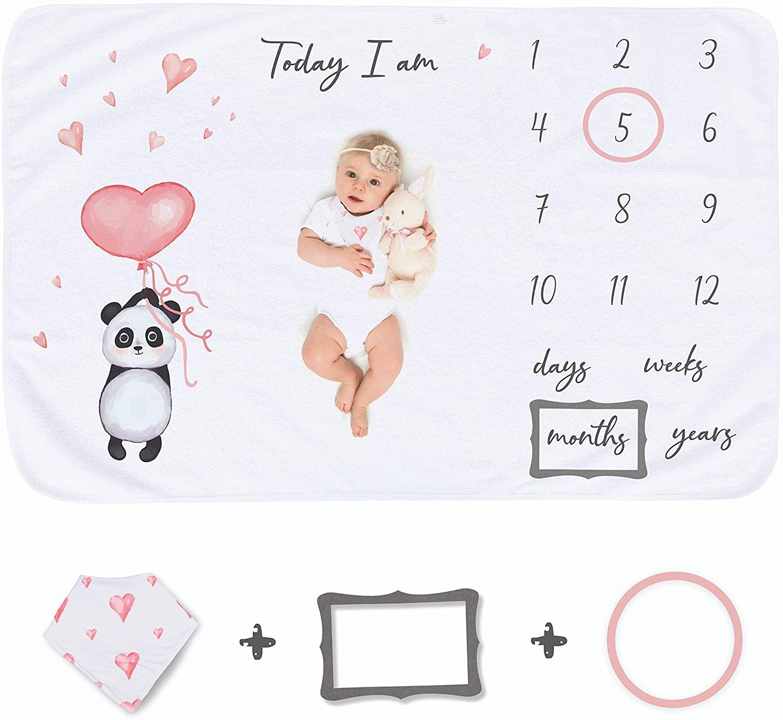 Baby Milestone Blanket Soft Plush Fleece Memory Blanket with Photography Props | Newborn Photo Shoot Ready | Large 60