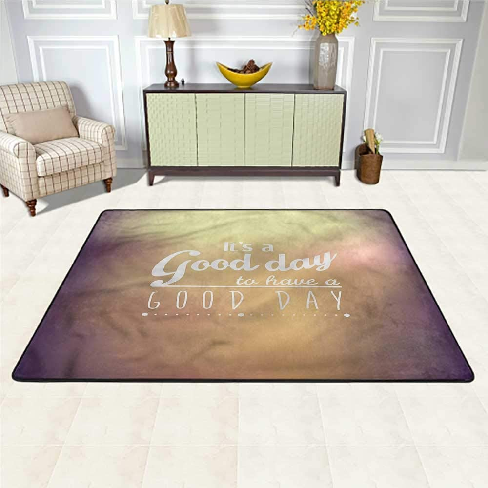 Rugs Motivational, Good Day Quote Baby Crawling Mat Suitable for Baby Nursery Decor 5 x 7 Feet