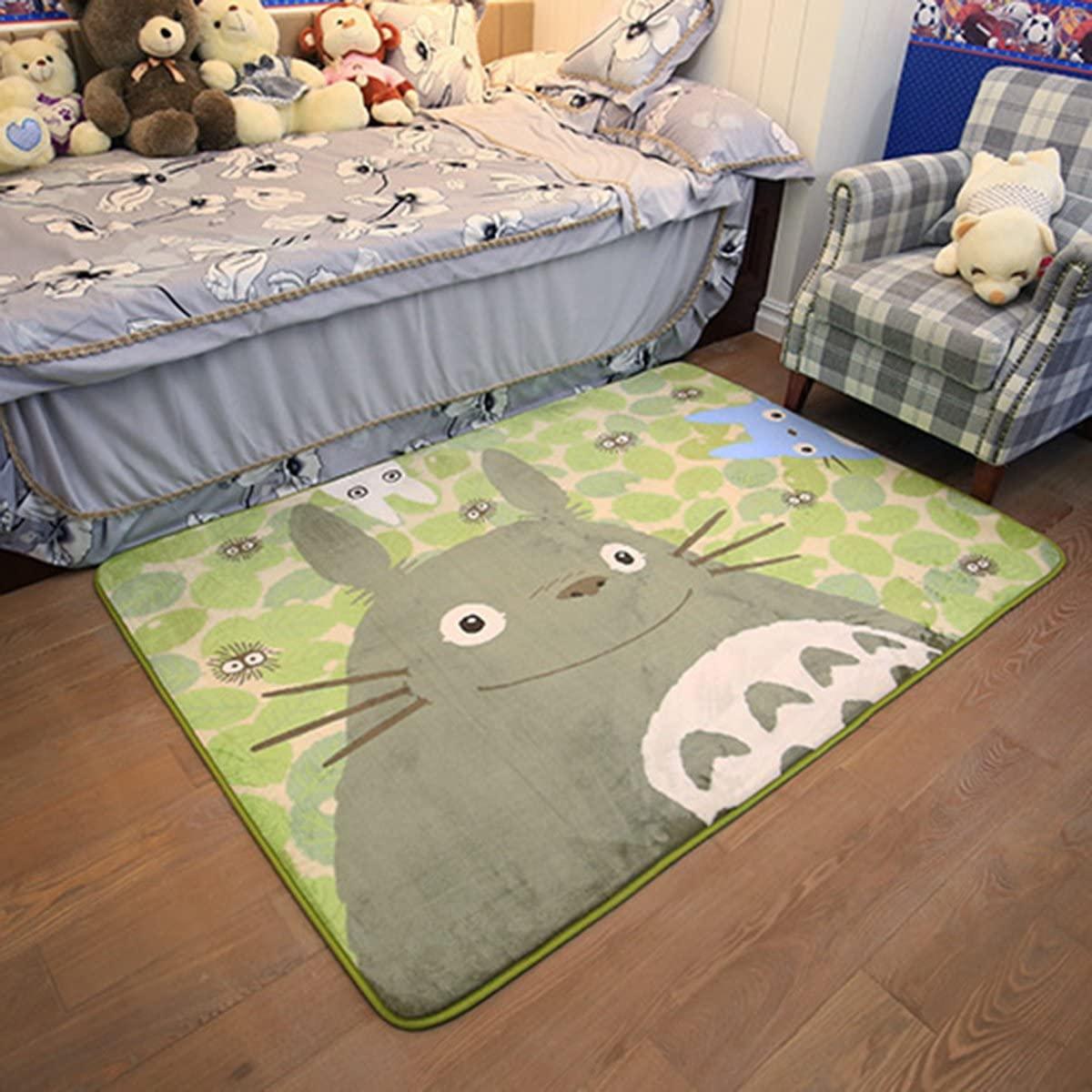 EKEA-Home Cartoon TOTORO Skid-proof Washable Big Carpet Kids Nursery Entertainment Floor Area Rugs Baby Crawling Mat For Living Room/Bed Room Green,50x120cm/19.7