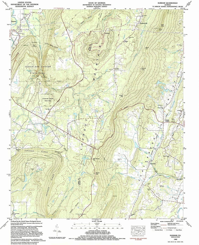 Map Print - Durham, Georgia (1983), 1:24000 Scale - 24