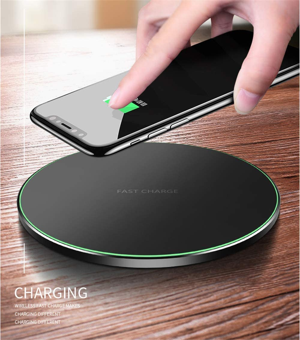 [Upgraded] Wireless Charger Qi-Certified 10W Wireless Charging Compatible with iPhone Xs MAX/XR/XS/X/8/8 Plus/Galaxy S10/S10 Plus/S10E/S9/All Qi-Enabled Phones (No AC Adapter) (White)