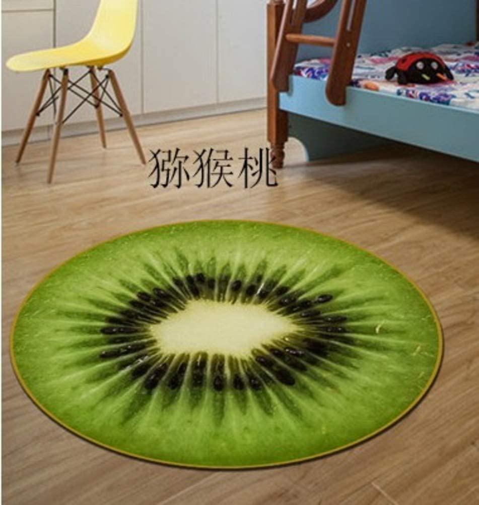 GGYDD Fruit Non Slip Shag Floor Mat,Cartoon Round Area Rug,Children Playing Mat Living Room Bedroom Carpet-c Diameter:100cm