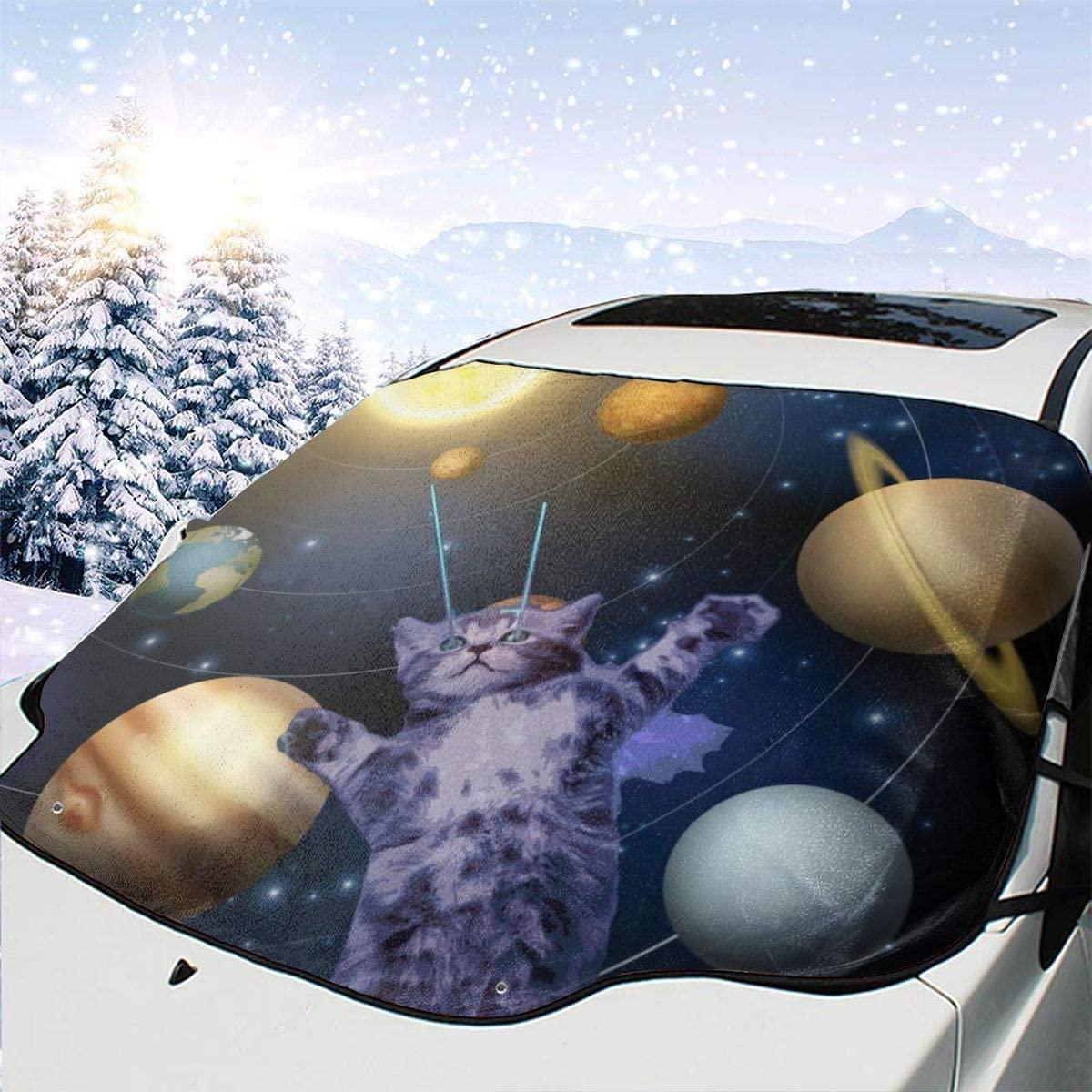 THONFIRE Car Front Window Windshield Winter Sunshade Universe Space Cat Cover Sand Proof Blocks Heat Damage Free Visor Protector Trucks Summer Heatshield