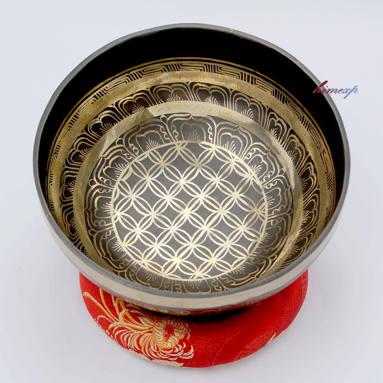 21 cm, Flower of Life and Conch Carved Healing and Therapy Singing Bowl, Singing Bowl for Yoga and Meditation Practice.