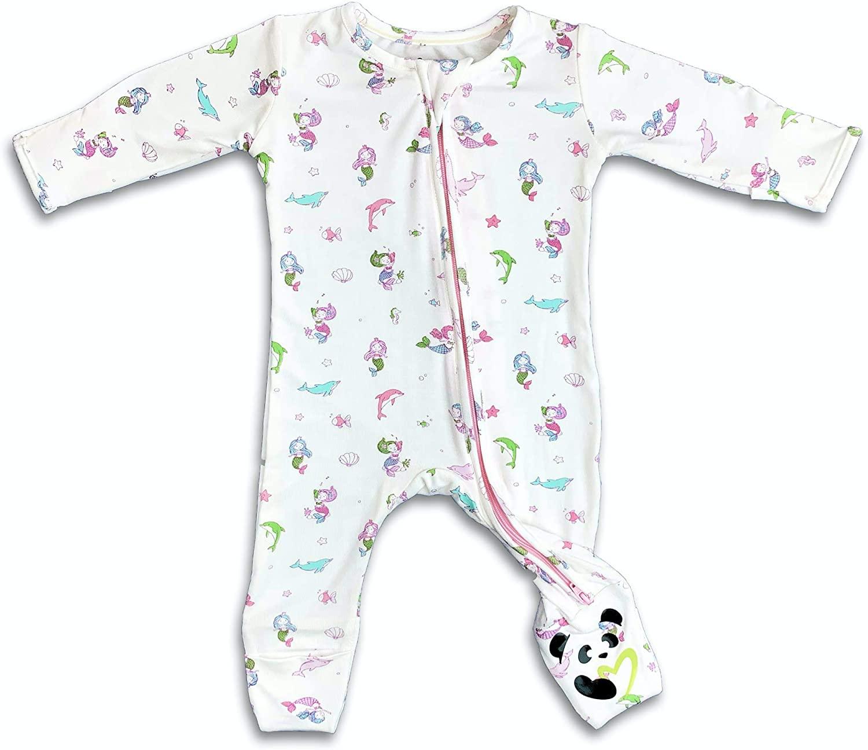 Girls Mermaid Convertible Footie Organic Bamboo, 2-Way Zipper Non-Slip Footed Romper PJ, Soft Baby Pajama