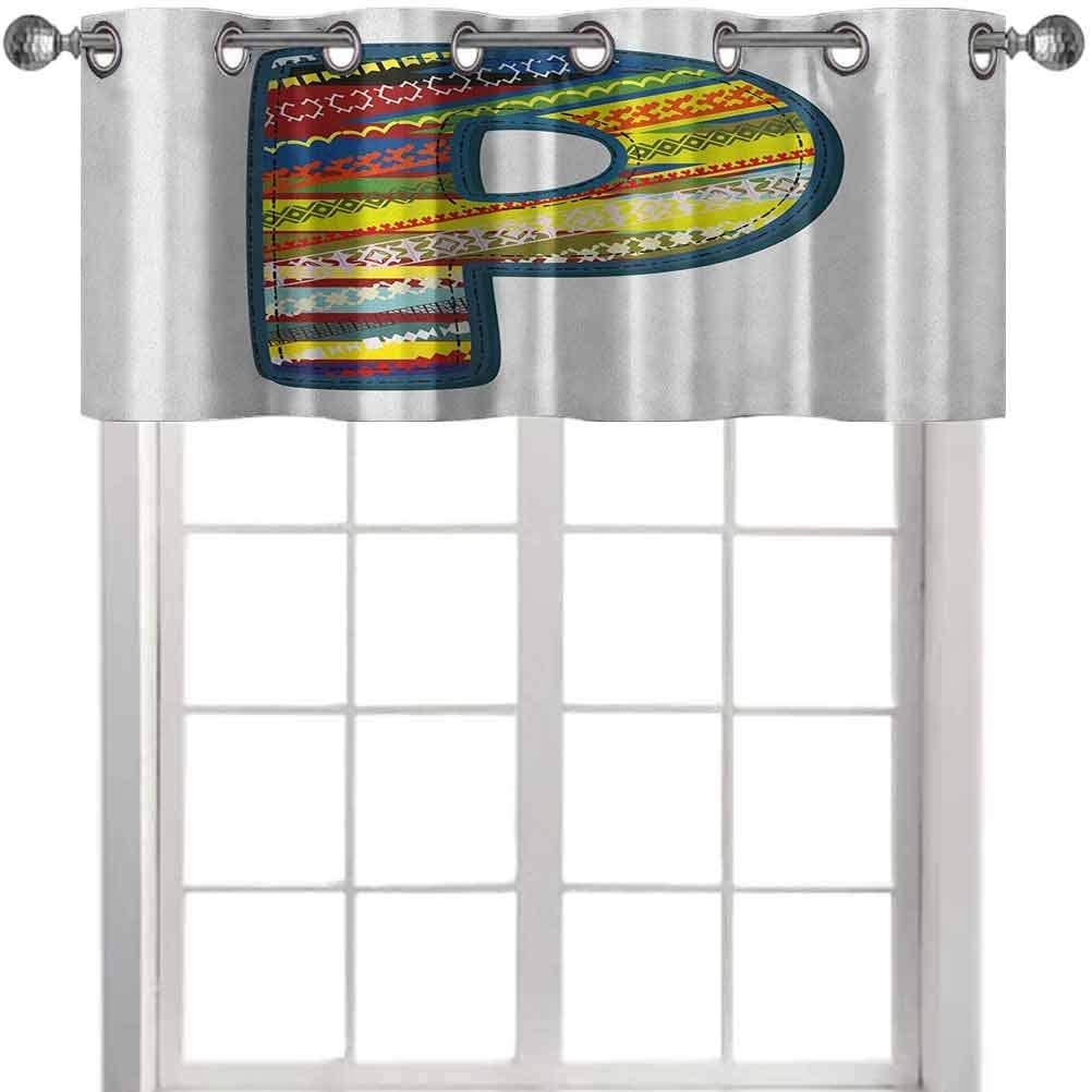 Nursery Window Valance Curtain, P Letter Alphabet Boho Style Calligraphy Vibrant Baby Nursery Theme, 50