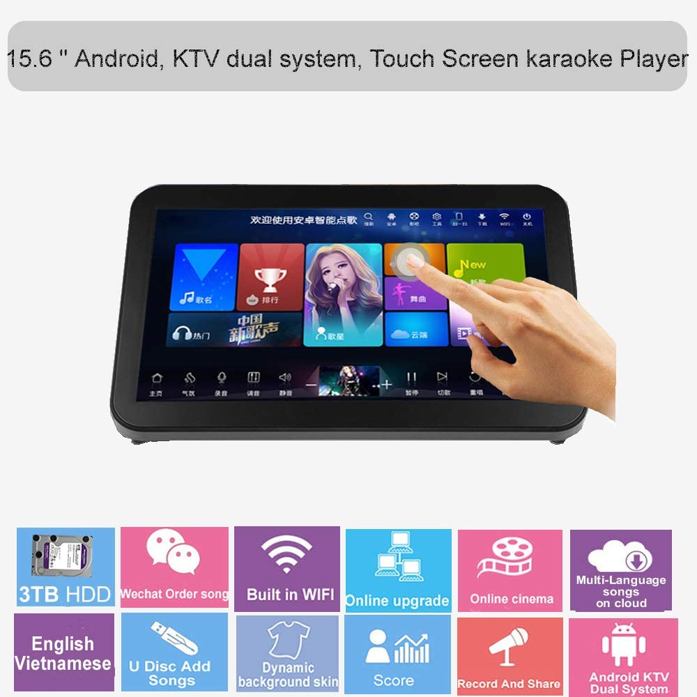 15.6'' HAJURIZ Touch Screen Karaoke Player,3TB HDD Preloaded with English,Vietnamese Songs,240K Multi-Language Songs On Cloud,Free Download,Android,KTV Dual System,Score,Record (Black)