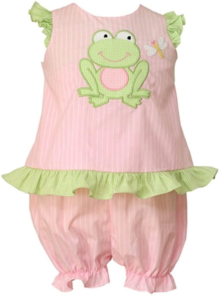 Anavini Girls Pink Stripe Frog Tunic and Bloomer Set