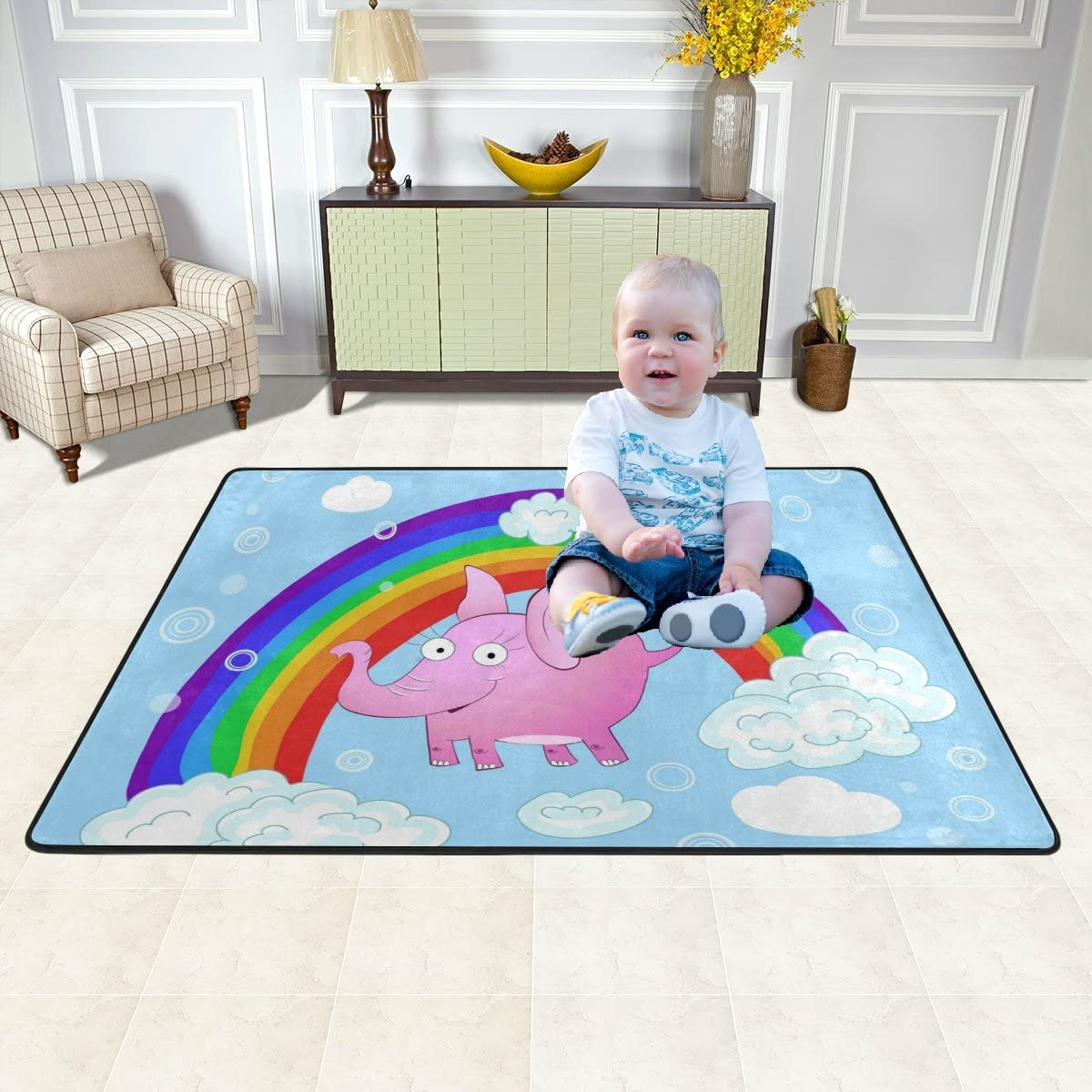 Fun Pink Elephant Kid Play Mat Baby Crawling Area Rug Soft Non-Slip Large Floor Mat for Playroom Bedroom Classroom 4' x 6'