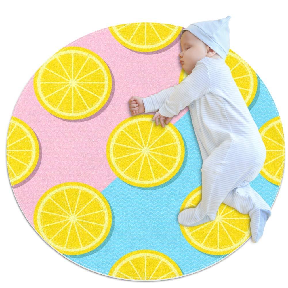 Baby Rug Lemon Round Tent Rug Super Soft Nursery Rug Anti-Slip for Infants Toddlers 27.6x27.6in