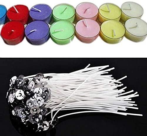 LELEXI: 50Pcs 20cm Long Metal Base Waxed Cotton Heart-Shaped DIY Butter Wick Candle Core Material Cotton Metal Candle Making Supplies