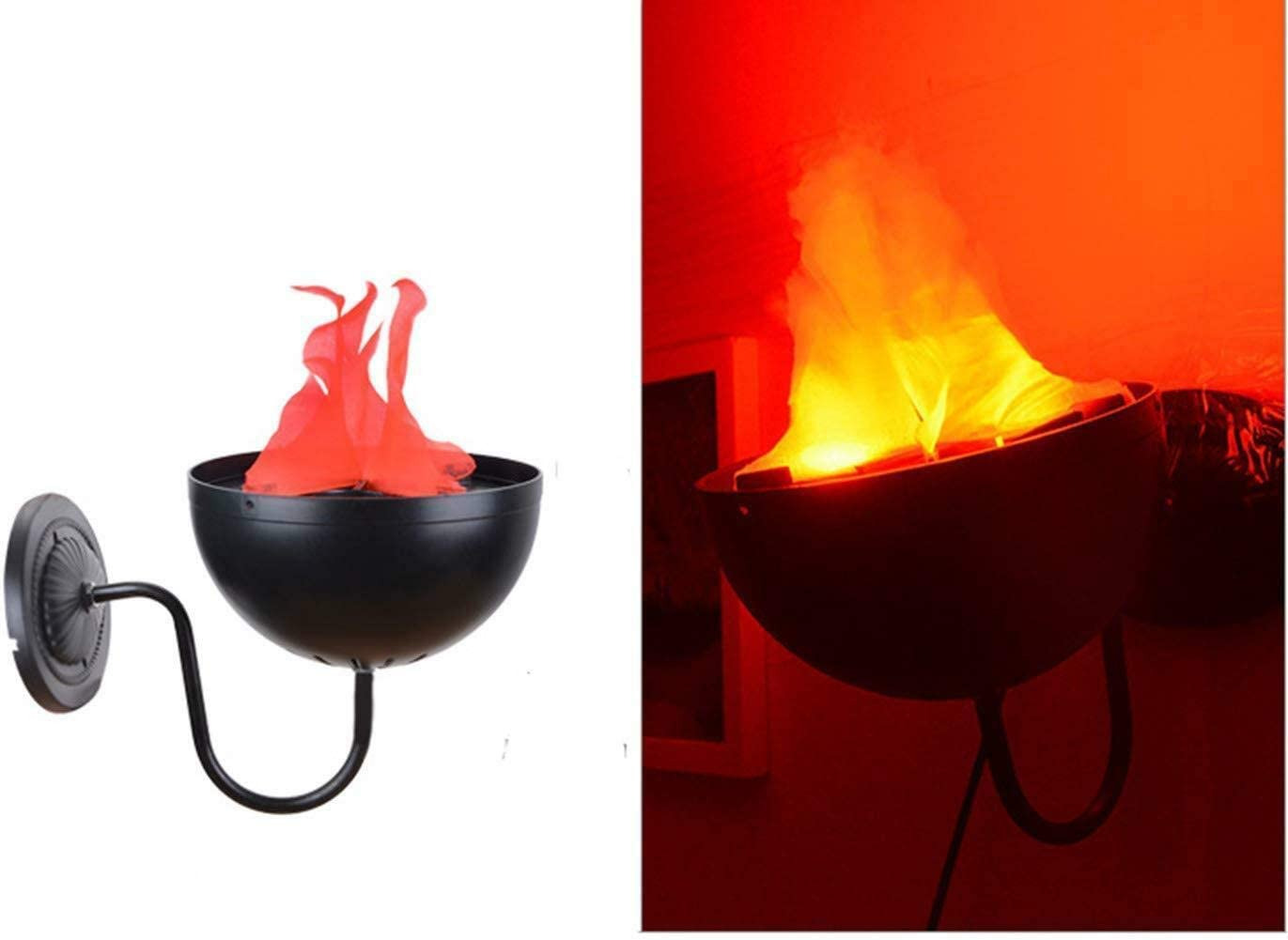 Flame Light Electronic Brazier Lamp LED 3D Flickering Fake Fire Simulation Flame Effect for Halloween Christmas Festival Party Stage Decor Lighting (Wall Mounted Lamp)