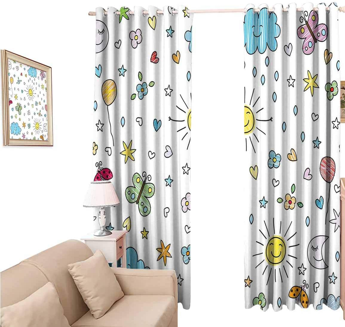 oobon Window Blackout Curtains Fabric, Nursery Various Weather Conditions Drawn Cartoon Style Sunny Rainy Cloudy Day and Night, 108 Inches Long for Nursery Room, 96x108 inch