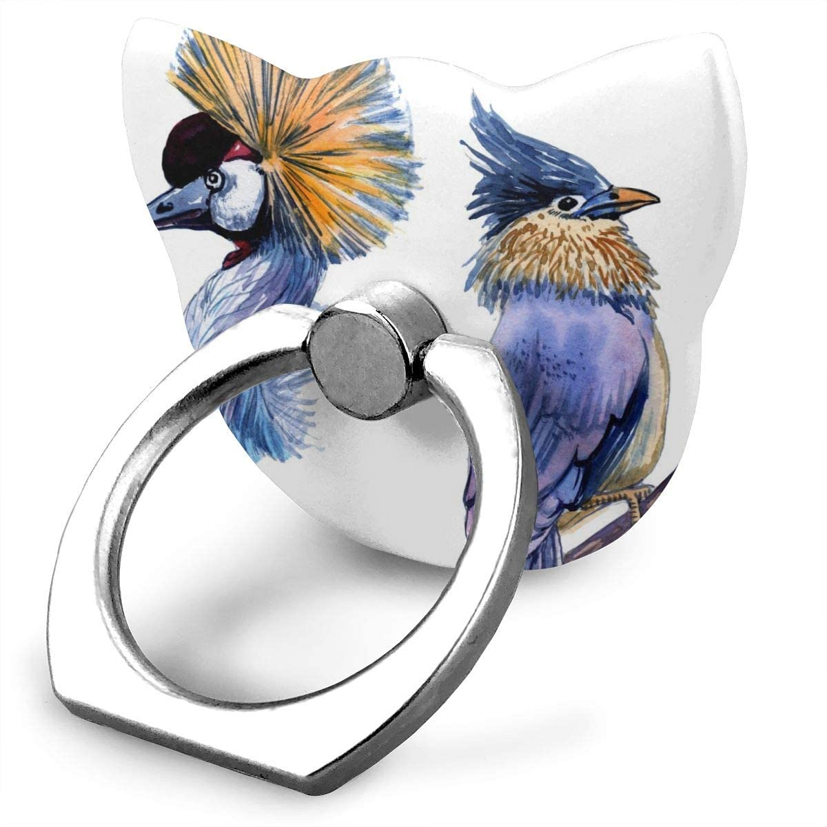 Cat Cell Phone Ring Holder, Ring Phone Holder Fantastic Watercolor Birds Cat Ring Holder for Cell Phone, Phone Ring Stand Finger Kickstand 360° Rotation Compatible with All Smartphones