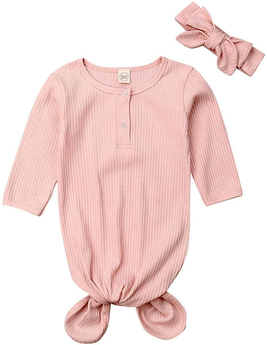 bababbaa Newborn Baby Long Sleeve Nightgown Cotton Wrap Knot Knit Sleeping Bags+Headband