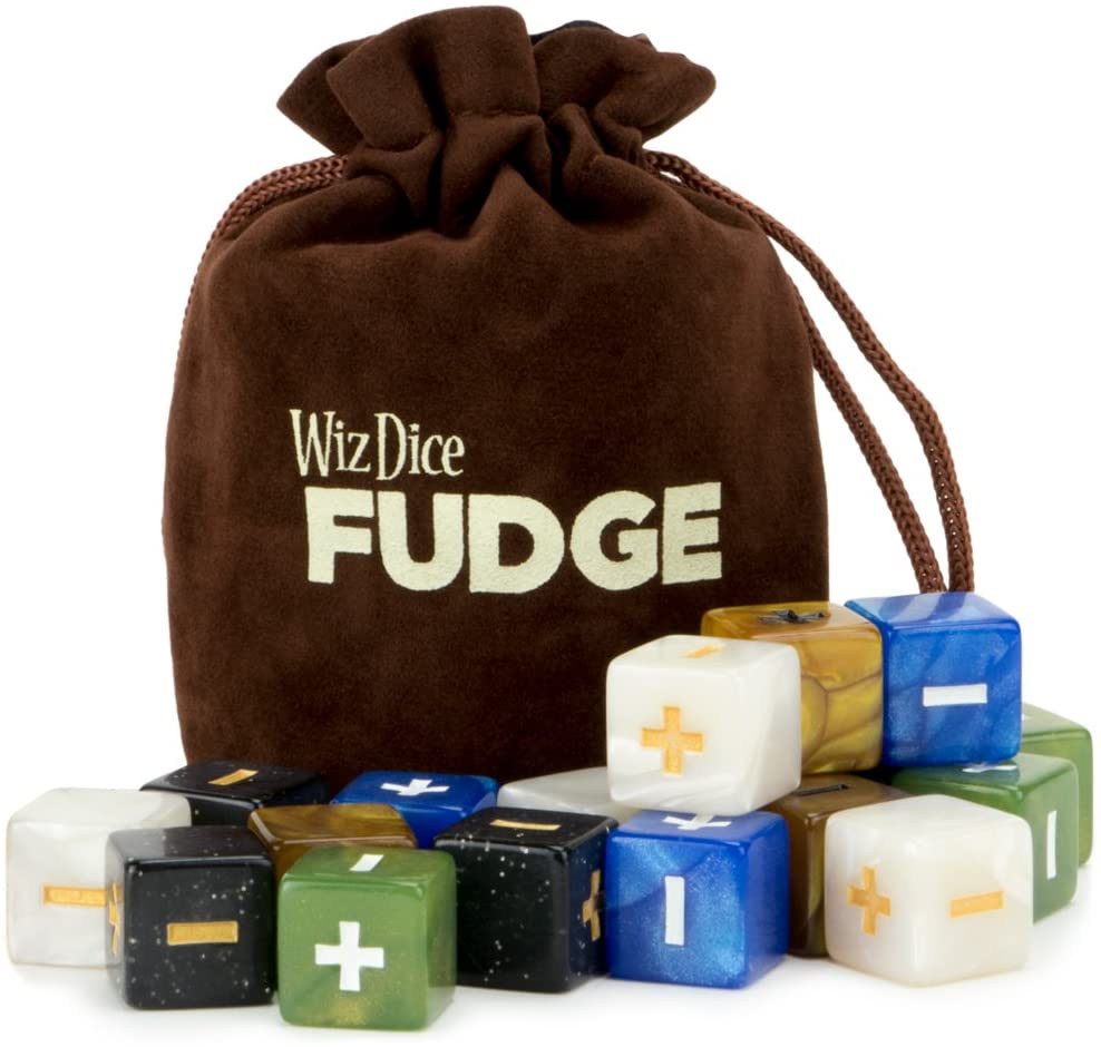 20 Fudge Dice GM Starter Pack: Terrestrial | 5 Sets of 4 Fudge Dice | Compatible with Fate or FAE Rulesets | Tabletop Role-Playing Game Dice | Chocolate Brown Carry Bag