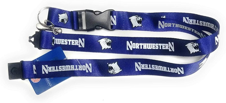 Northwestern Wildcats PSG 2-Tone Premium Lanyard 2-Sided Keychain University of