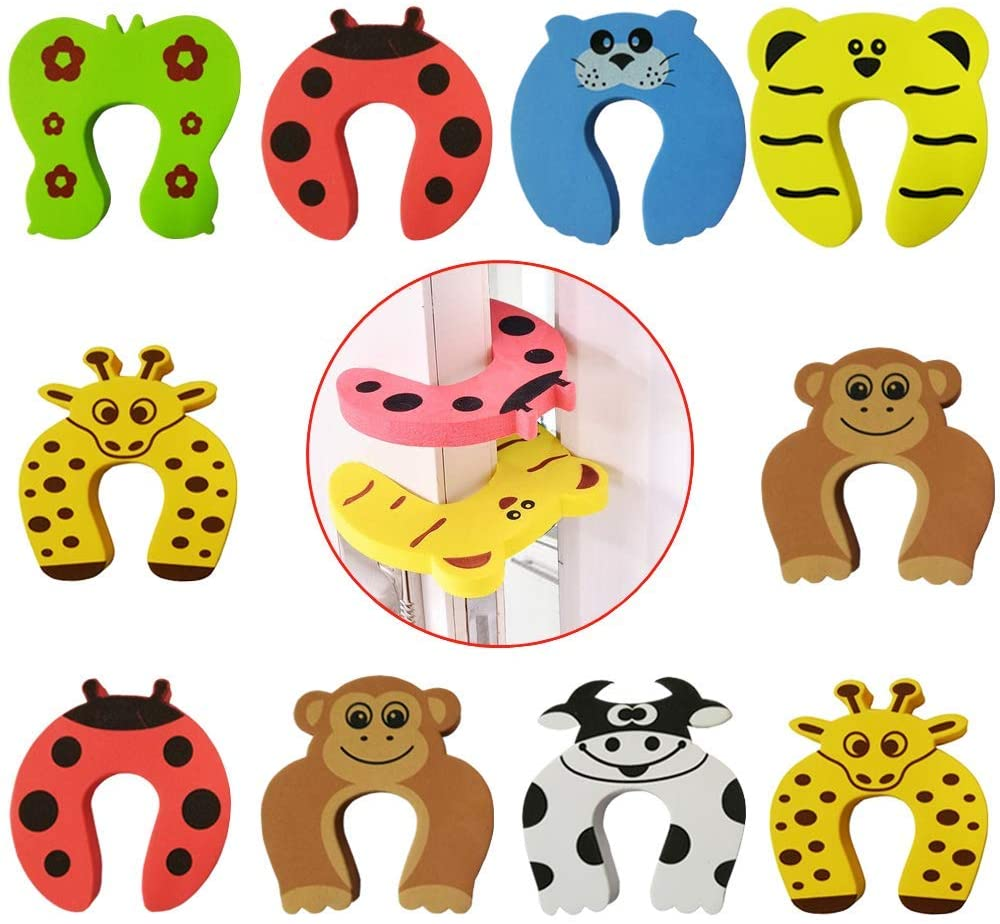 10Pcs Door Stopper,Baby Safety Animal Cushion Door Stop/Decorative Rubber Cat Finger Protector/Pinch Finger Guard Security