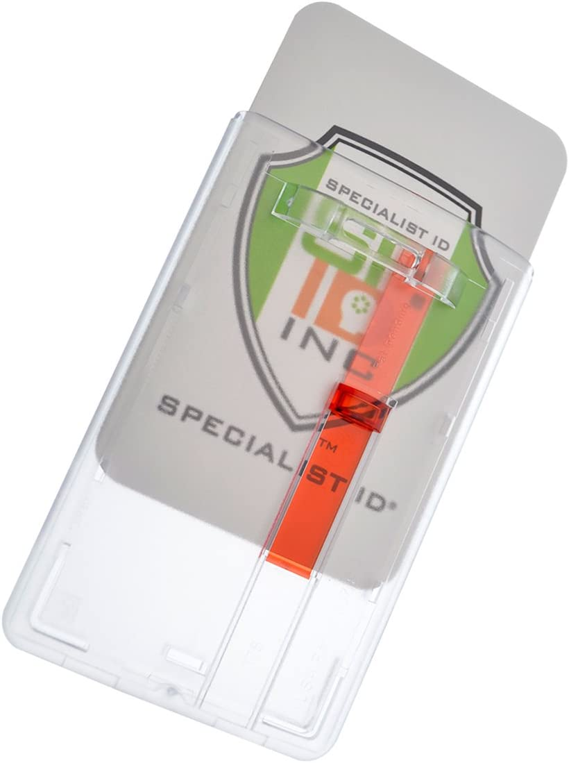 Frosted Vertical Rigid Badge Holder I.D. Card Dispenser with Easy Access Red Extractor Slide by Specialist ID, Sold Individually