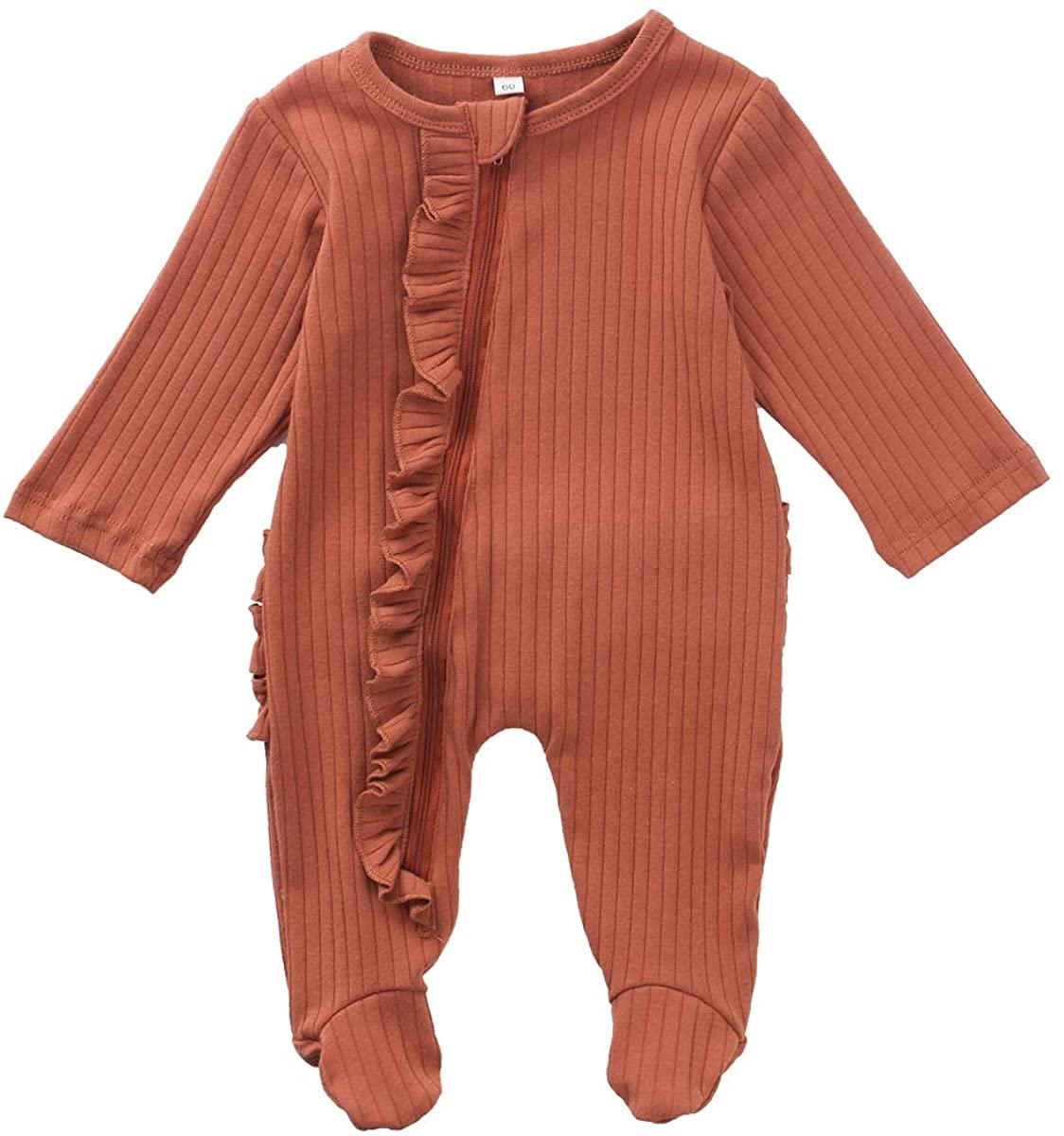 Newborn Baby Boy Girl Zipper Footed Pajamas Ribbed Ruffle One Piece Footie Romper Jumpsuits Sleeper Pjs