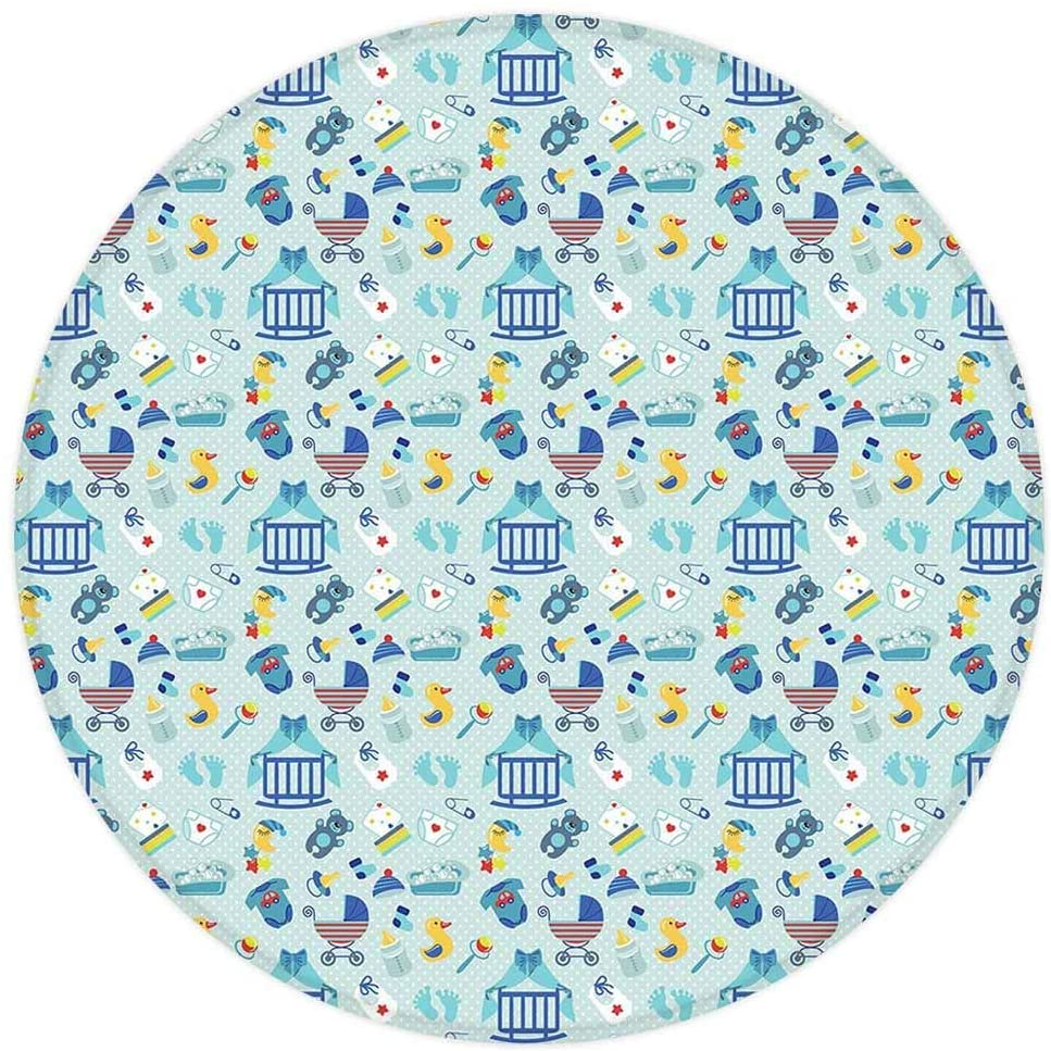 Baby Round Area Rug,Newborn Sleep Crescent Moon Pacifier Nursery Star Polka Dots Image Decorative,for Living Room Bedroom Dining Room,Round 4'x 4',Pale and Violet Blue Yellow