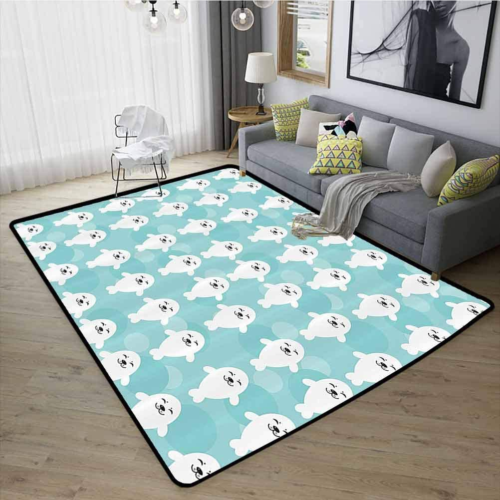 Sea Animals Decor Floor Mat Rug, Presents Decor Idea with Non-Slip Rubber Backing for Living Room Kids Room White Baby Seals with Cute Faces Children Baby Smiling Cheerful Kids, W15 x L23