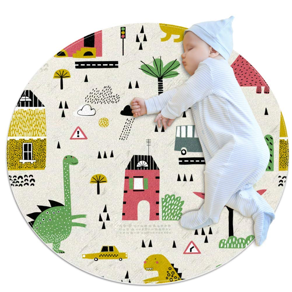 Round Mat Dinosaur Car Tree Kids Play Mat Baby Crawling Pad Children Floor Rugs Bedroom and Playroom Home Decor Carpet 39.4x39.4 inches