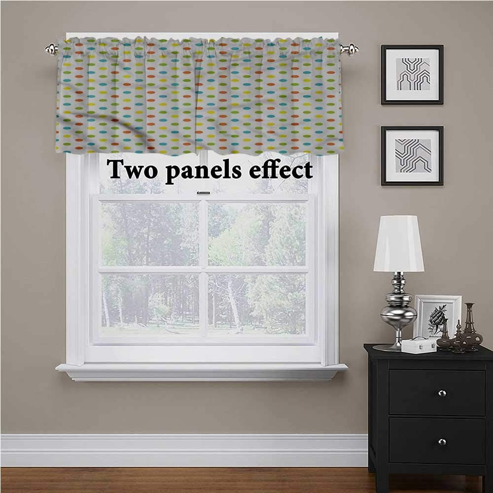 shirlyhome Colorful Window Curtain Valance Polka Dots Pattern for Kids Room/Baby Nursery/Dormitory, 54 Inch by 18 Inch 1 Panel