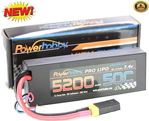 Hobbypower PowerHobby 2S 7.4V 5200mAh 50C Lipo Battery W XT60 Plug + Traxxas Plug Adapter 2-Cell Fits : Slash 4x4 4WD 2WD Stampede Rustler E-Revo E-Maxx Spartan M41 X-Maxx Brushless VXL